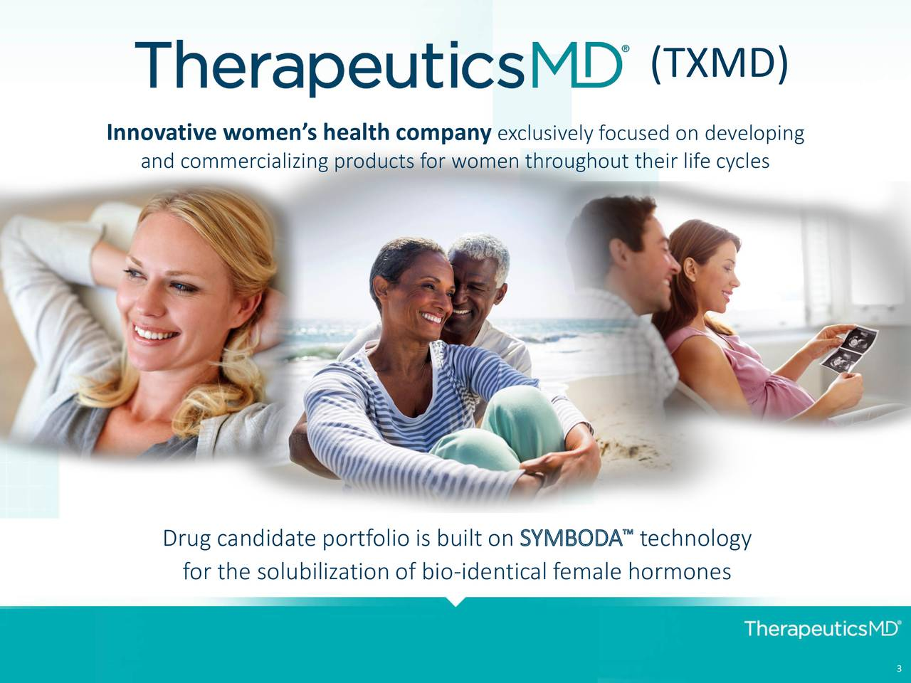Innovative womens health company exclusively focused on developing and commercializing products for women throughout their life cycles Drug candidate portfolio is built on SYMBODA technology for the solubilization of bio-identical female hormones